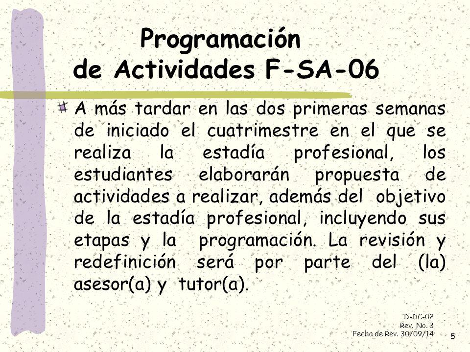 Programación de Actividades F-SA-06