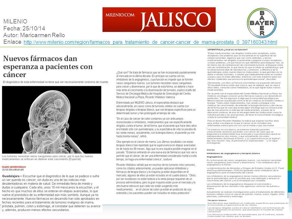 MILENIO Fecha: 25/10/14 Autor: Maricarmen Rello Enlace: http://www