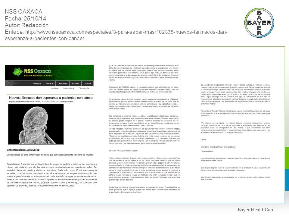 NSS OAXACA Fecha: 25/10/14 Autor: Redacción Enlace: http://www