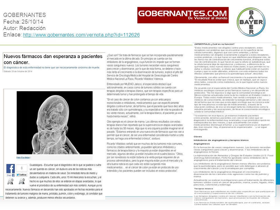 GOBERNANTES Fecha: 25/10/14 Autor: Redacción Enlace: http://www