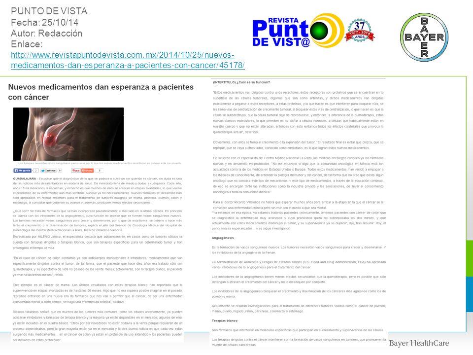 PUNTO DE VISTA Fecha: 25/10/14 Autor: Redacción Enlace: http://www