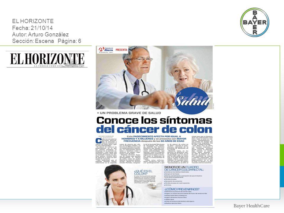 EL HORIZONTE Fecha: 21/10/14 Autor: Arturo González Sección: Escena Página: 6