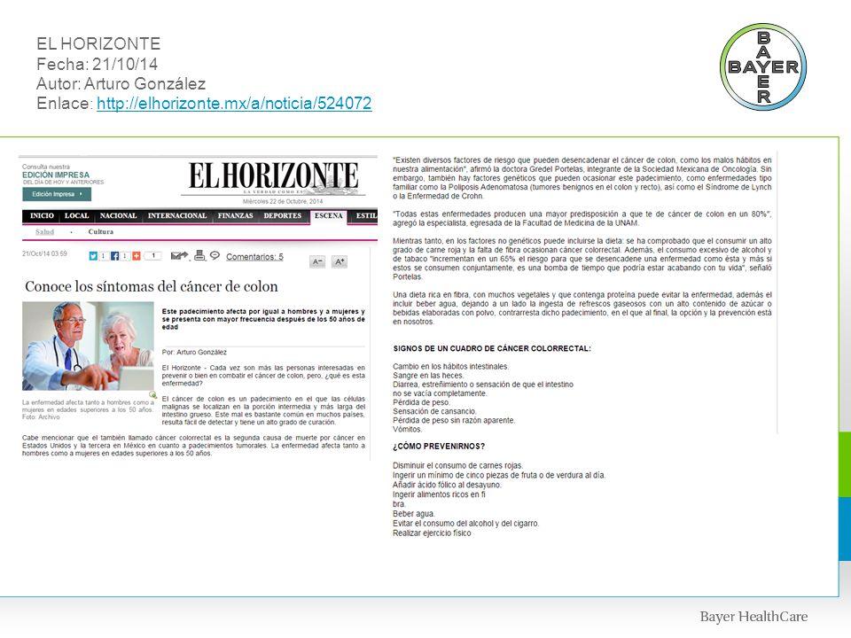 EL HORIZONTE Fecha: 21/10/14 Autor: Arturo González Enlace: http://elhorizonte.mx/a/noticia/524072