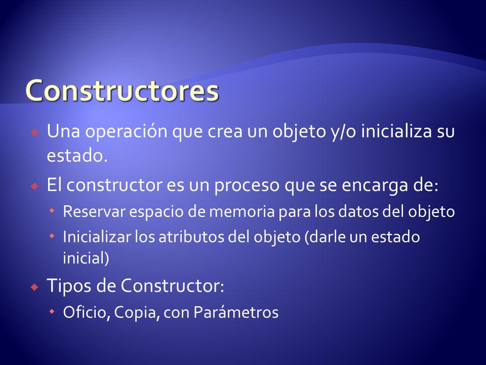 Constructores Una operación que crea un objeto y/o inicializa su estado. El constructor es un proceso que se encarga de: