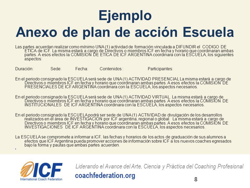Ejemplo Anexo de plan de acción Escuela