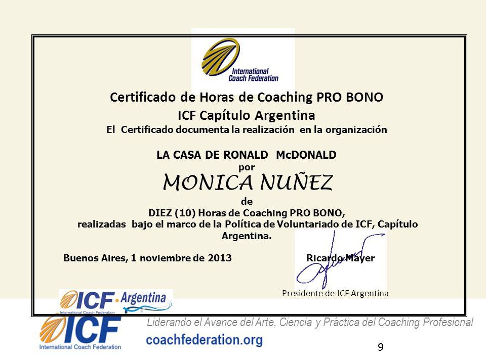 MONICA NUÑEZ Certificado de Horas de Coaching PRO BONO