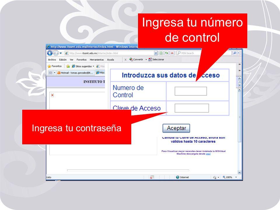 Ingresa tu número de control