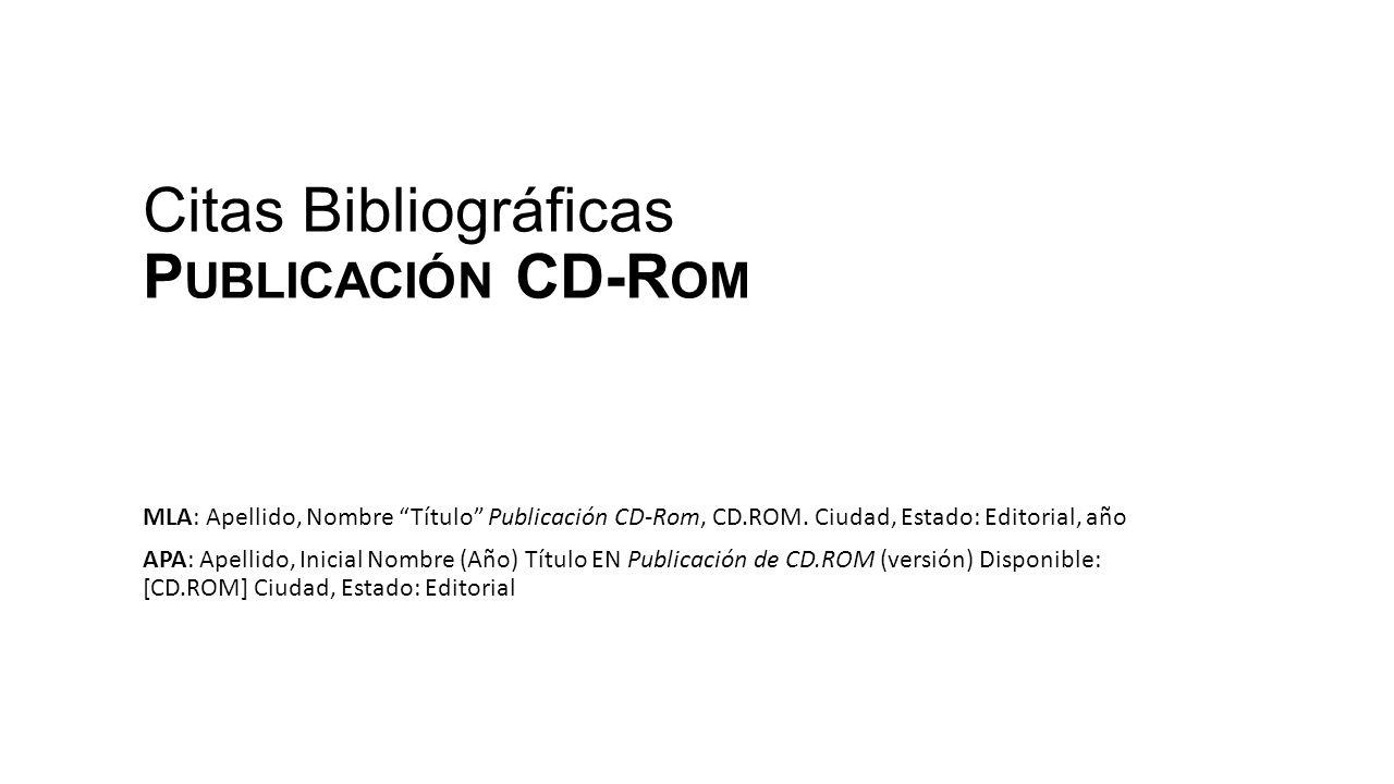 Citas Bibliográficas Publicación CD-Rom
