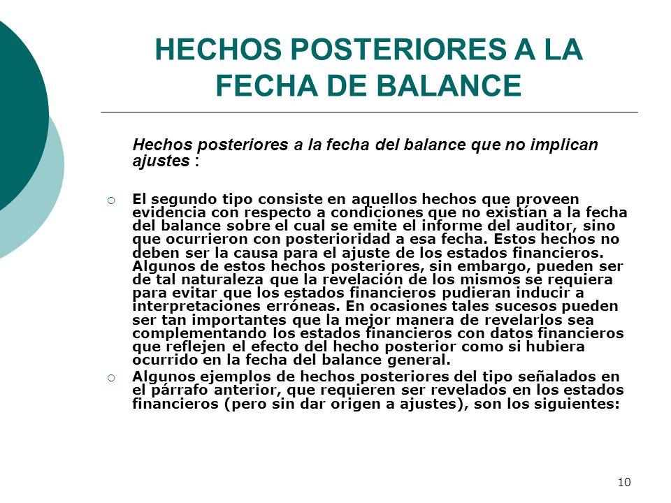 HECHOS POSTERIORES A LA FECHA DE BALANCE