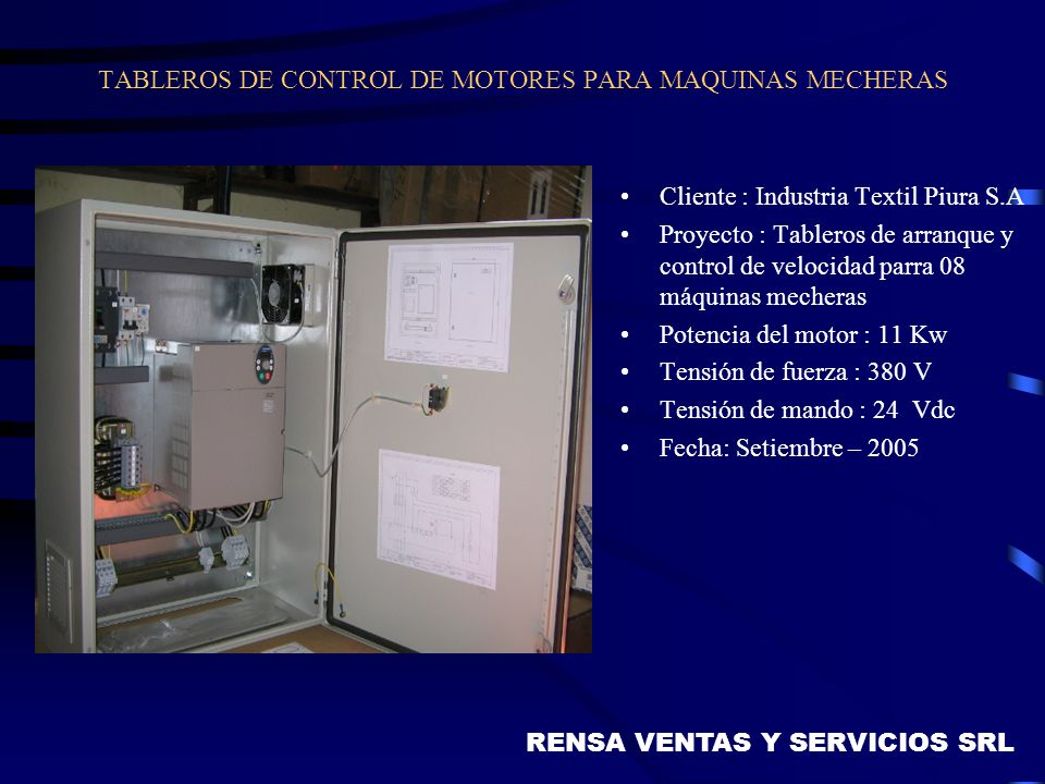 TABLEROS DE CONTROL DE MOTORES PARA MAQUINAS MECHERAS