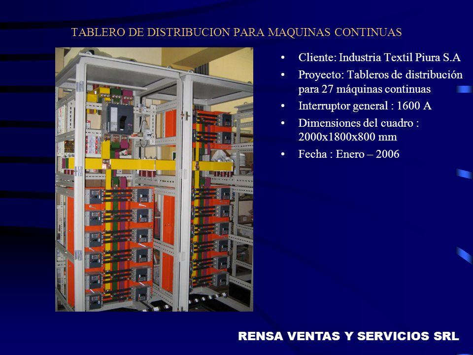 TABLERO DE DISTRIBUCION PARA MAQUINAS CONTINUAS