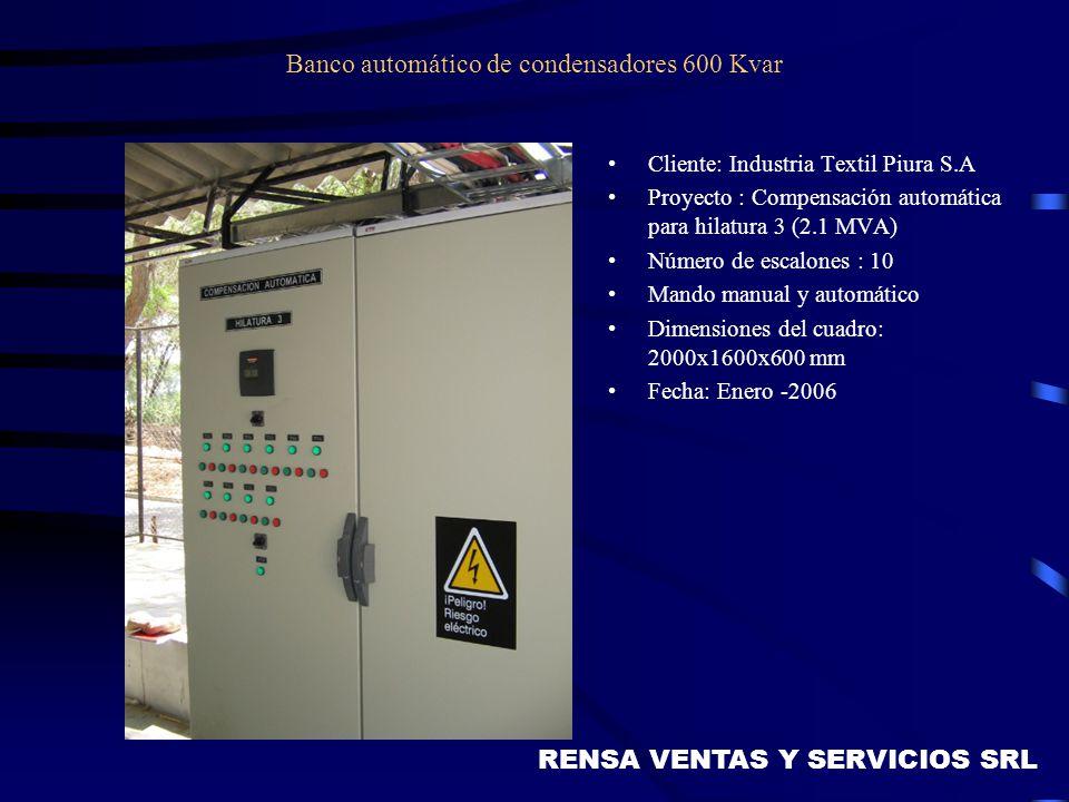 Banco automático de condensadores 600 Kvar