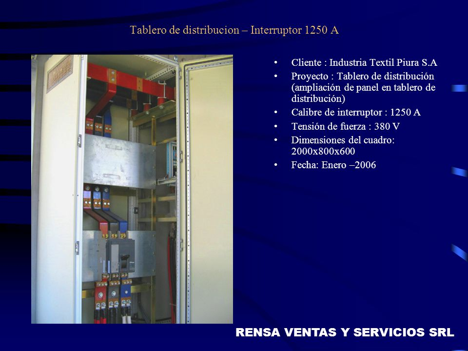 Tablero de distribucion – Interruptor 1250 A