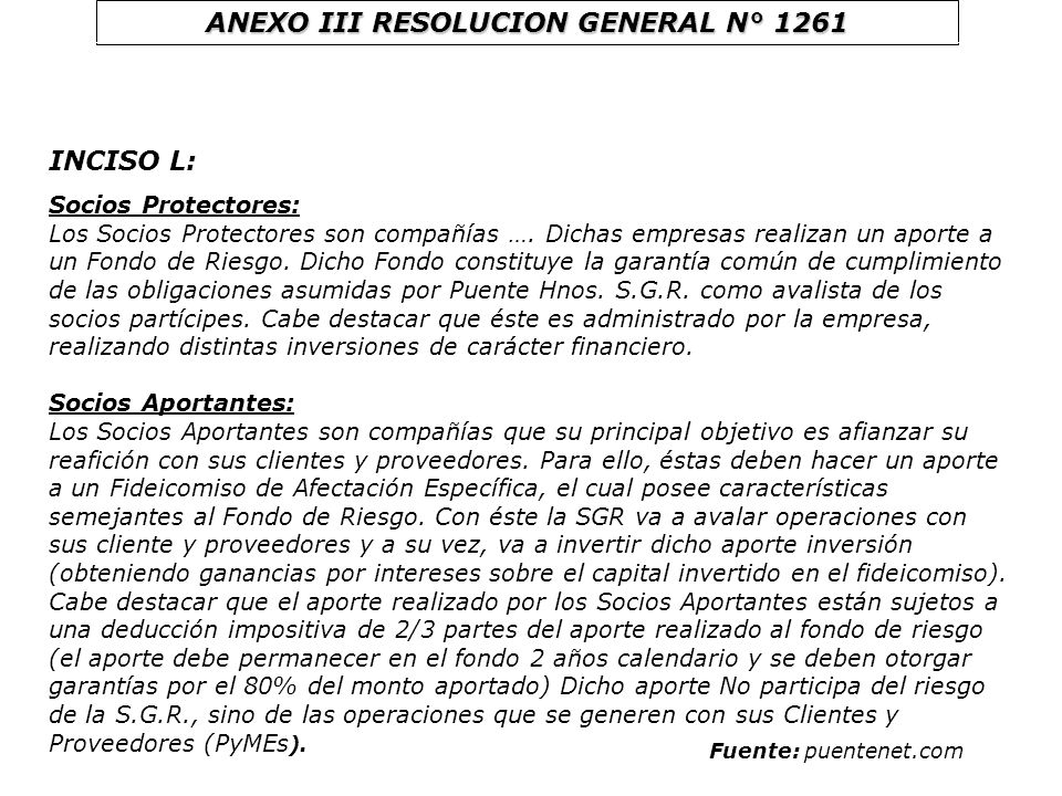 ANEXO III RESOLUCION GENERAL N° 1261