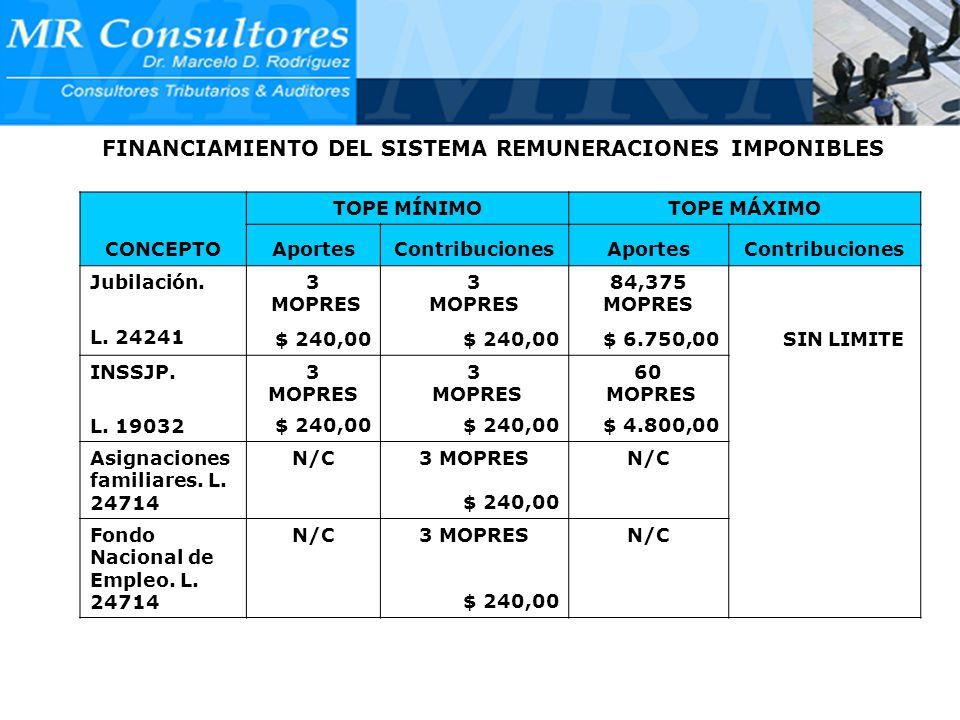 FINANCIAMIENTO DEL SISTEMA REMUNERACIONES IMPONIBLES