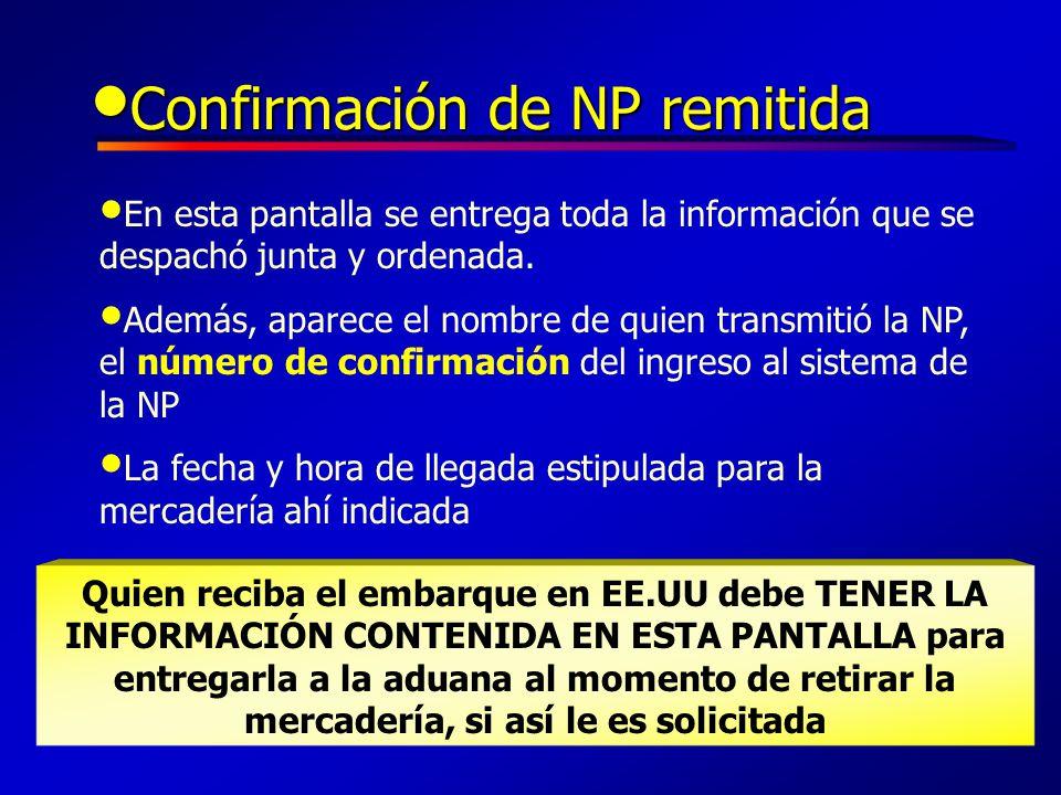 Confirmación de NP remitida
