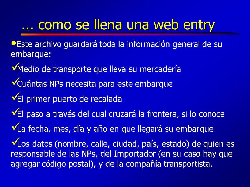 ... como se llena una web entry
