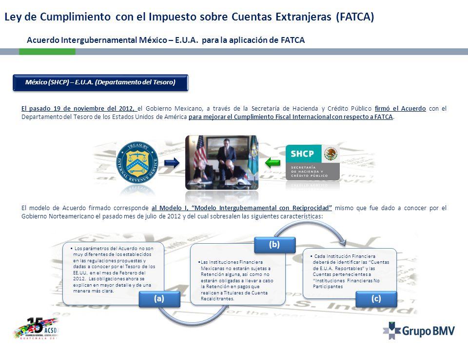México (SHCP) – E.U.A. (Departamento del Tesoro)