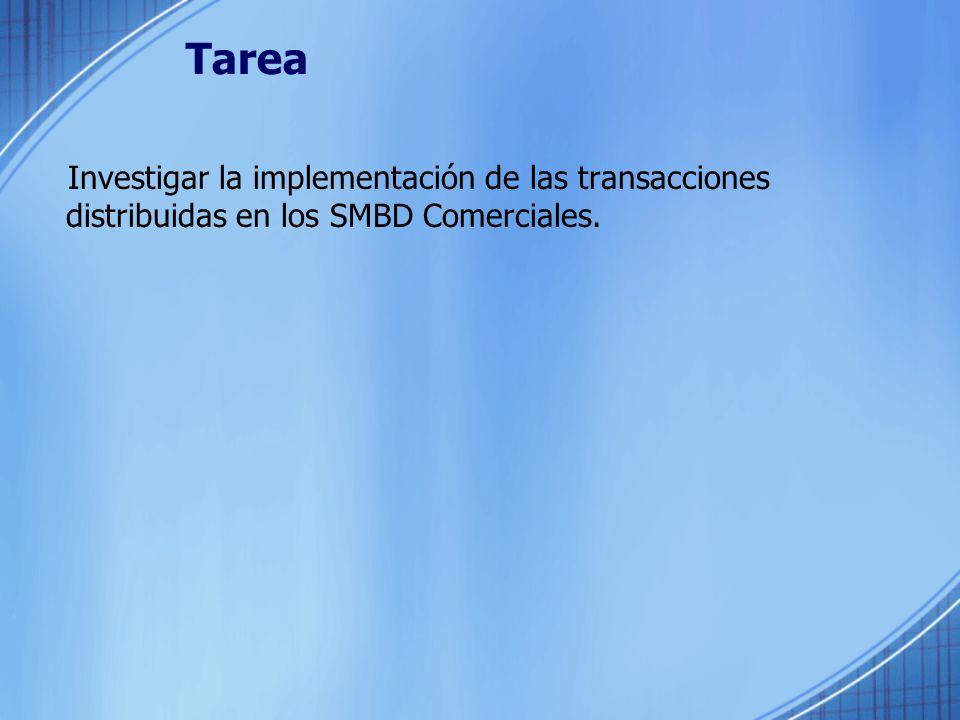 Tarea Investigar la implementación de las transacciones distribuidas en los SMBD Comerciales.