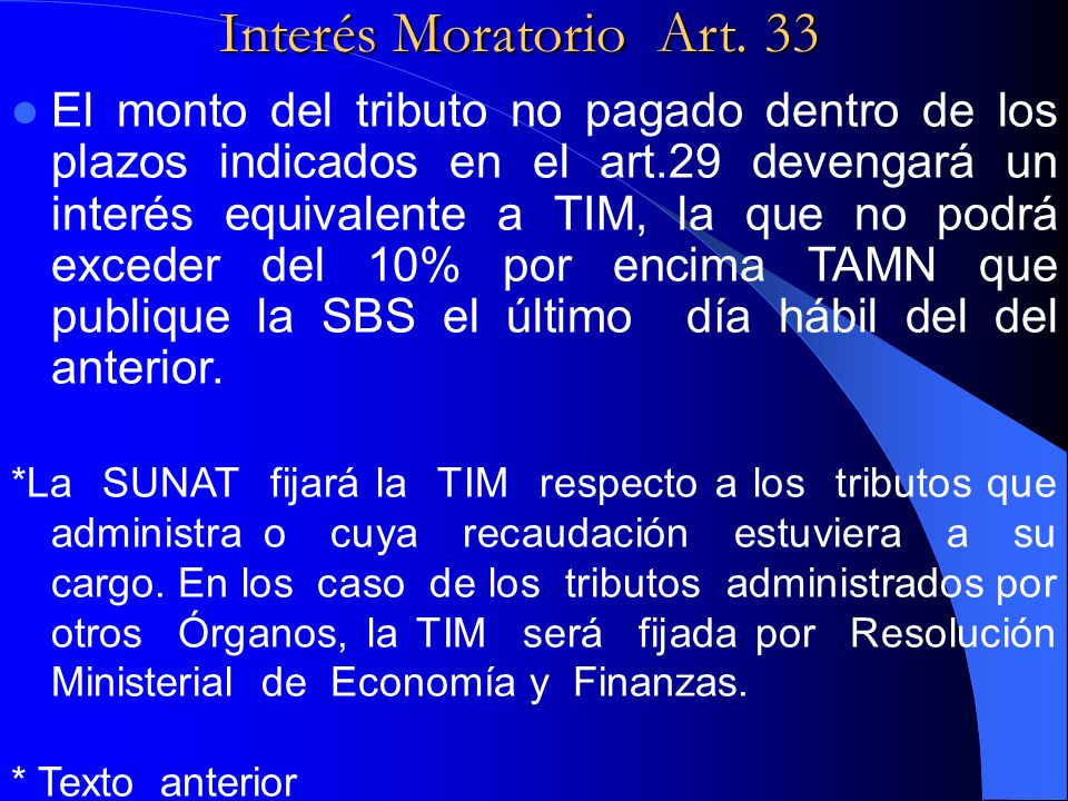 Interés Moratorio Art. 33