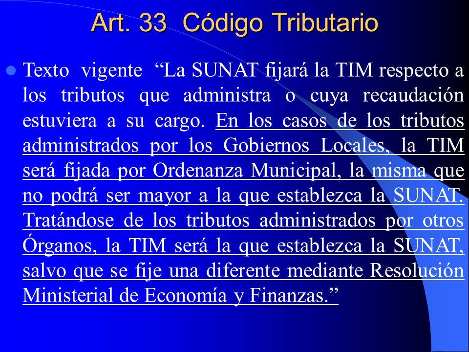 Art. 33 Código Tributario