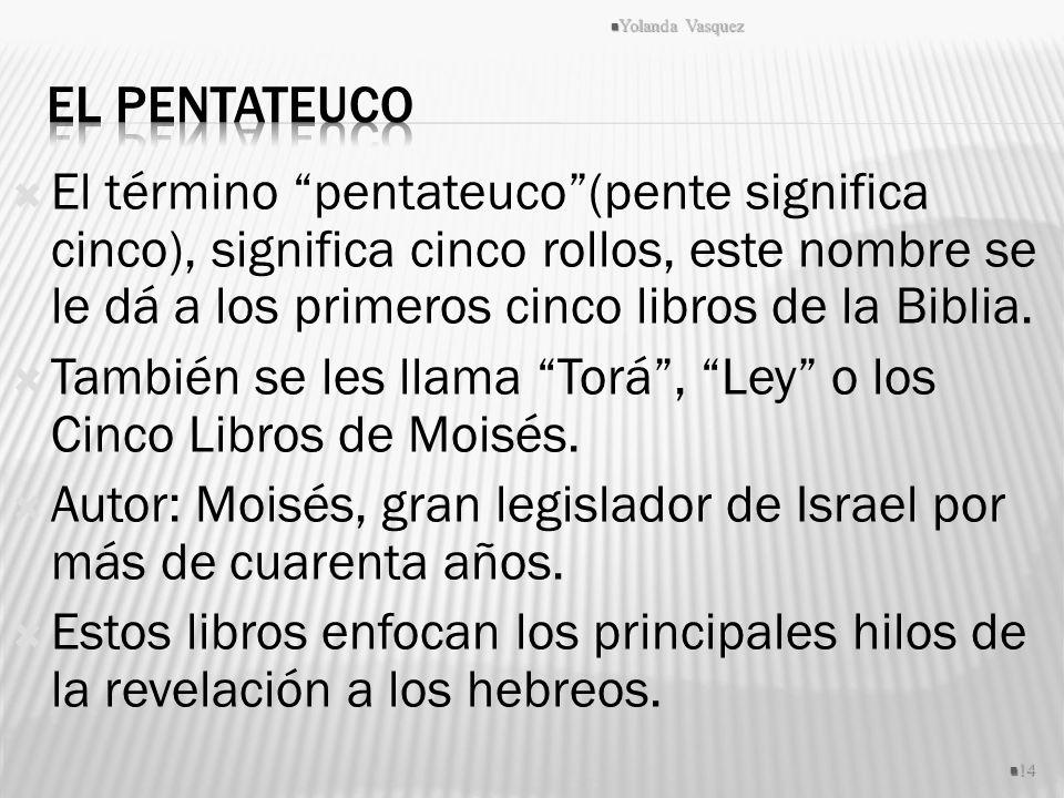 También se les llama Torá , Ley o los Cinco Libros de Moisés.