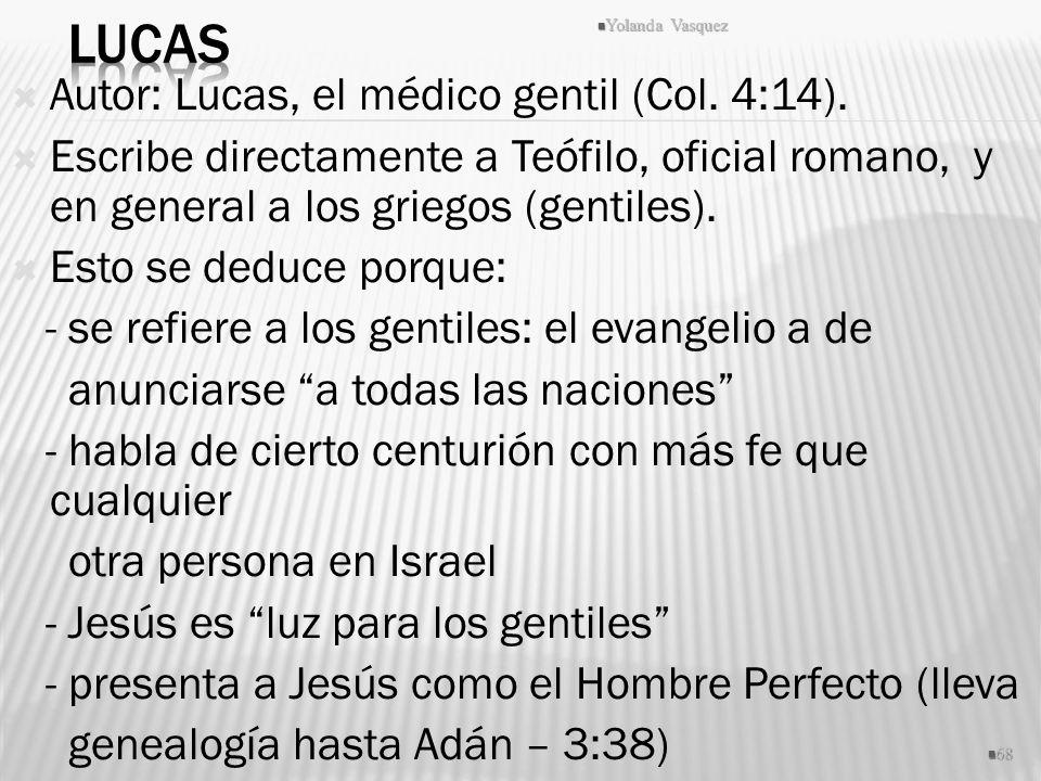 Lucas Autor: Lucas, el médico gentil (Col. 4:14).