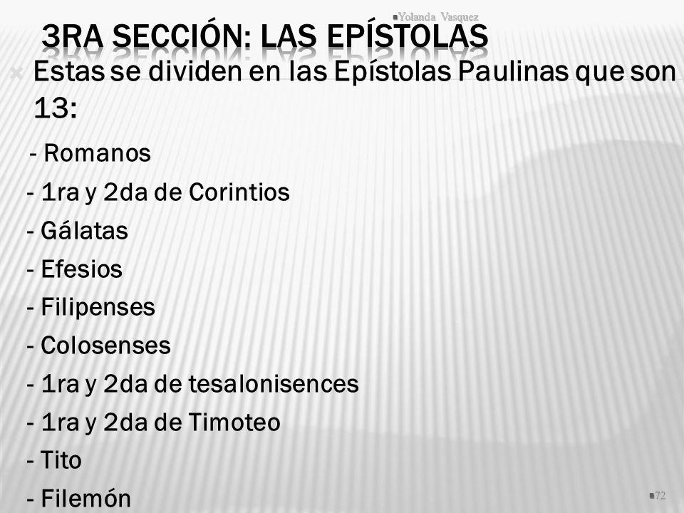 3ra Sección: Las Epístolas