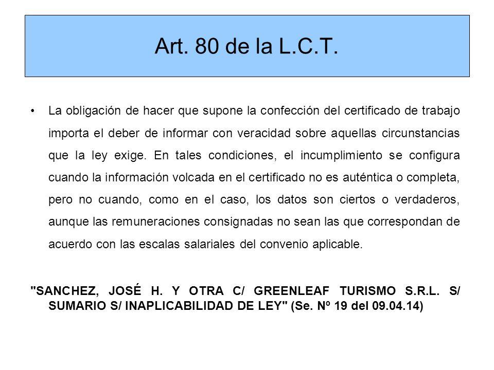 Art. 80 de la L.C.T.