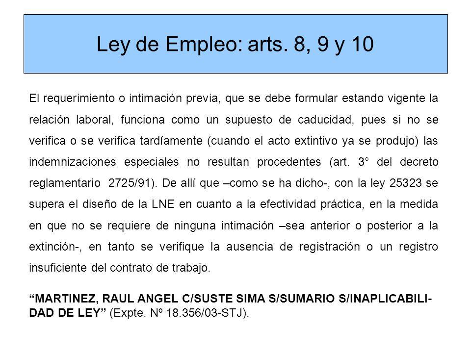 Ley de Empleo: arts. 8, 9 y 10