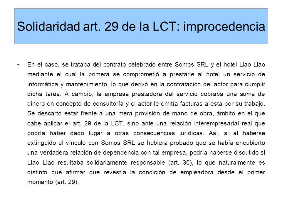 Solidaridad art. 29 de la LCT: improcedencia