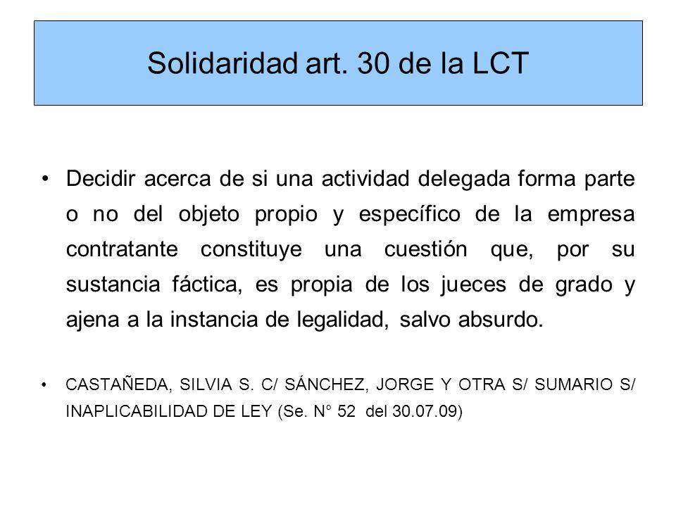 Solidaridad art. 30 de la LCT