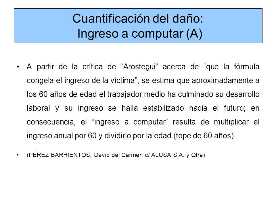 Cuantificación del daño: Ingreso a computar (A)