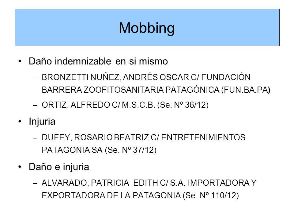 Mobbing Daño indemnizable en si mismo Injuria Daño e injuria