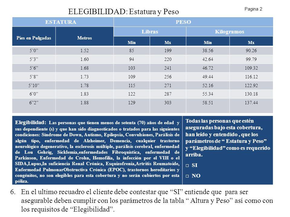 ELEGIBILIDAD: Estatura y Peso