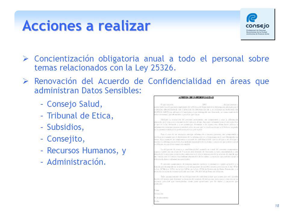 Acciones a realizar Concientización obligatoria anual a todo el personal sobre temas relacionados con la Ley 25326.