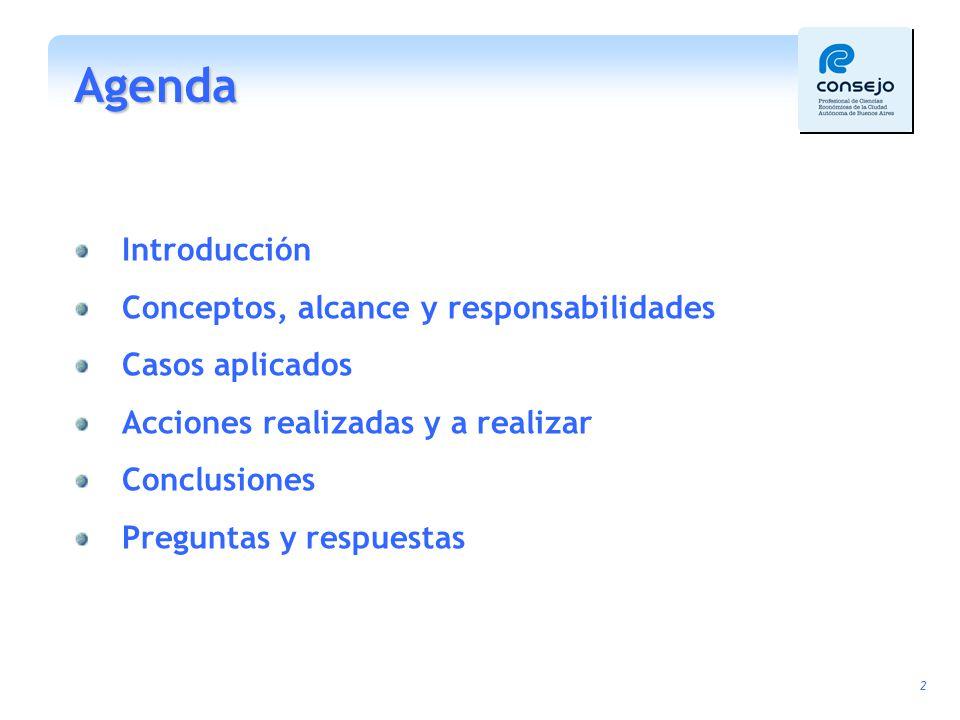 Agenda Introducción Conceptos, alcance y responsabilidades
