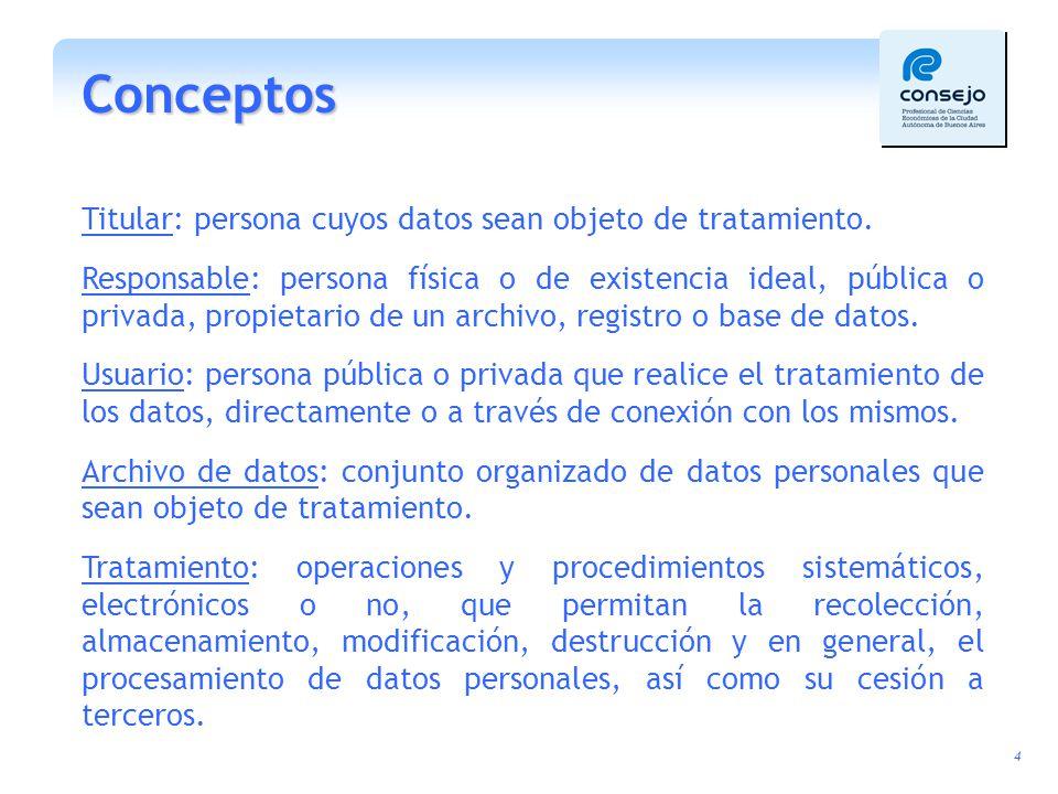 Conceptos Titular: persona cuyos datos sean objeto de tratamiento.
