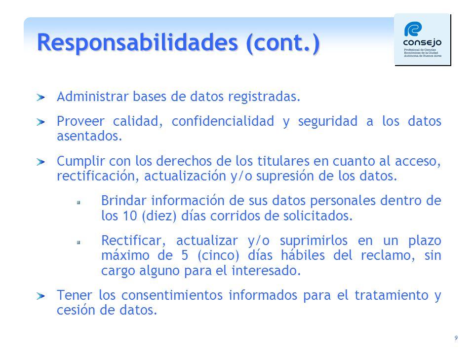 Responsabilidades (cont.)