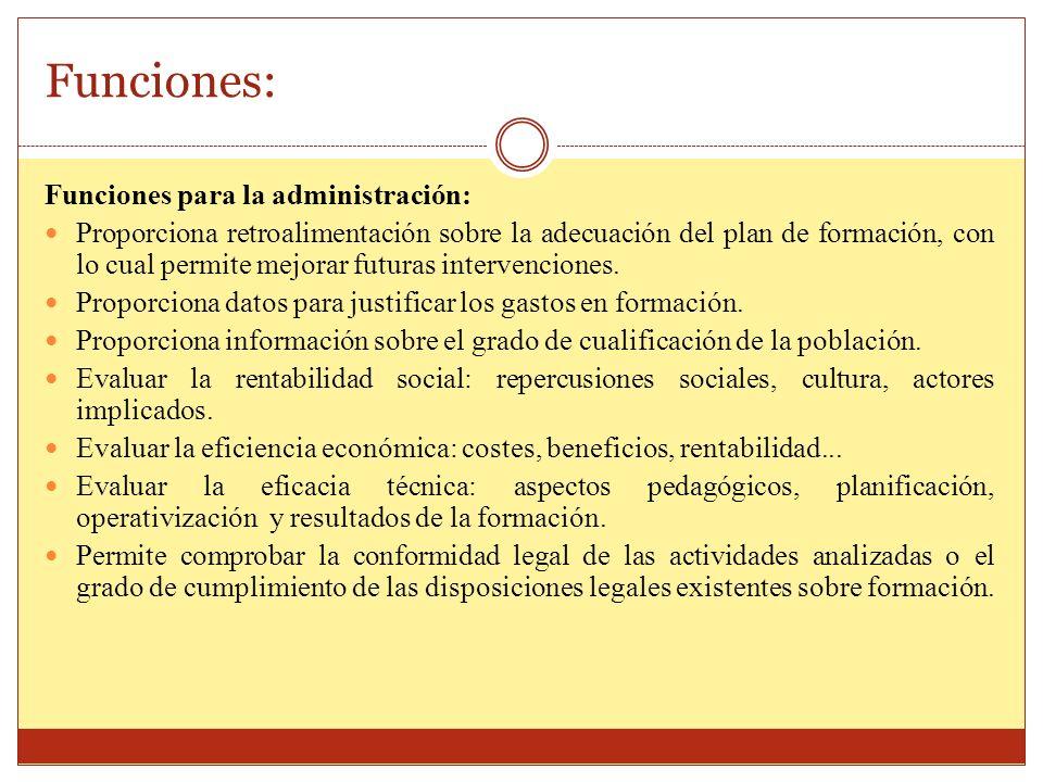 Funciones: Funciones para la administración: