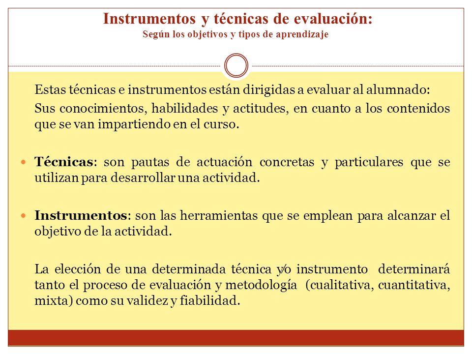 Instrumentos y técnicas de evaluación: Según los objetivos y tipos de aprendizaje