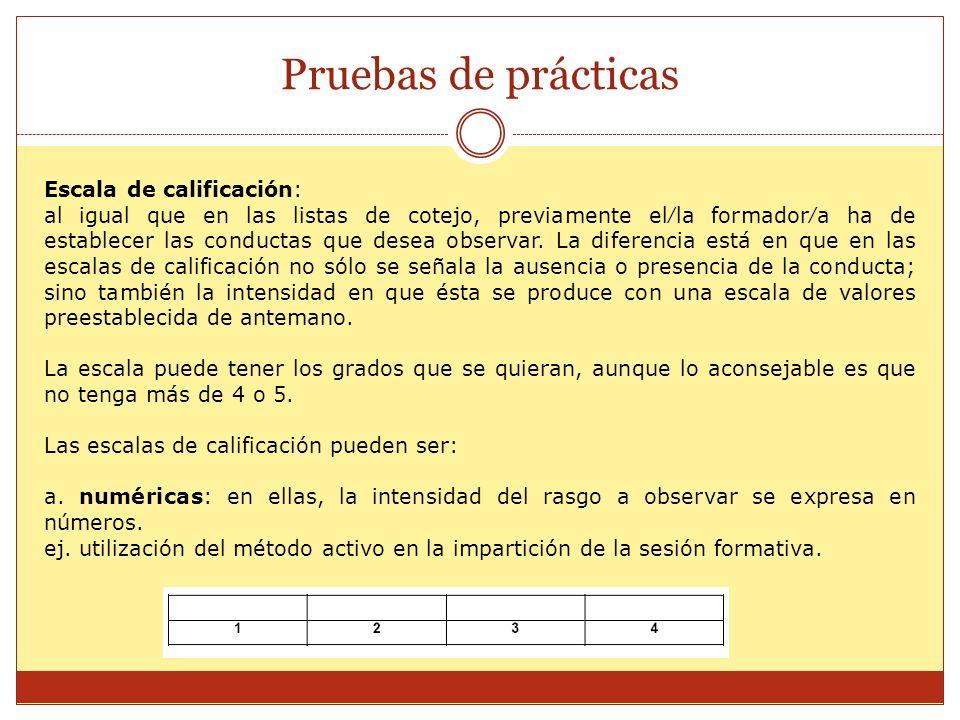 Pruebas de prácticas Escala de calificación: