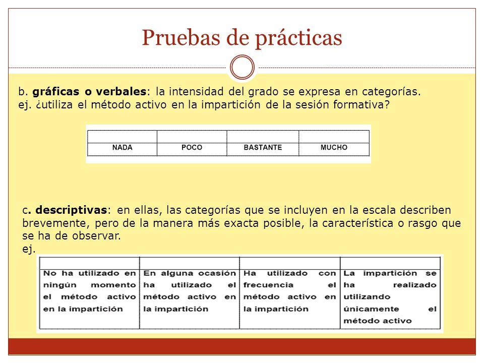 Pruebas de prácticas b. gráficas o verbales: la intensidad del grado se expresa en categorías.