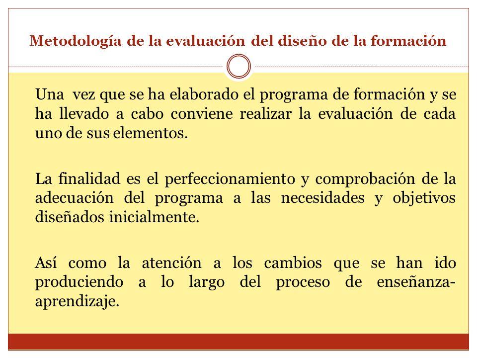 Metodología de la evaluación del diseño de la formación