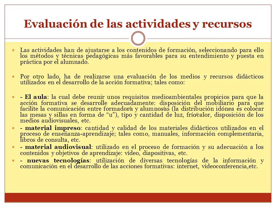 Evaluación de las actividades y recursos