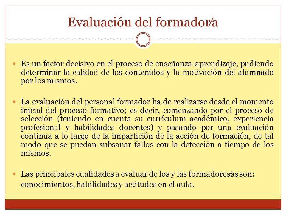 Evaluación del formador⁄a