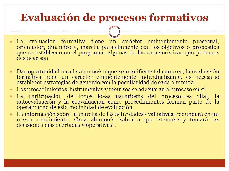 Evaluación de procesos formativos