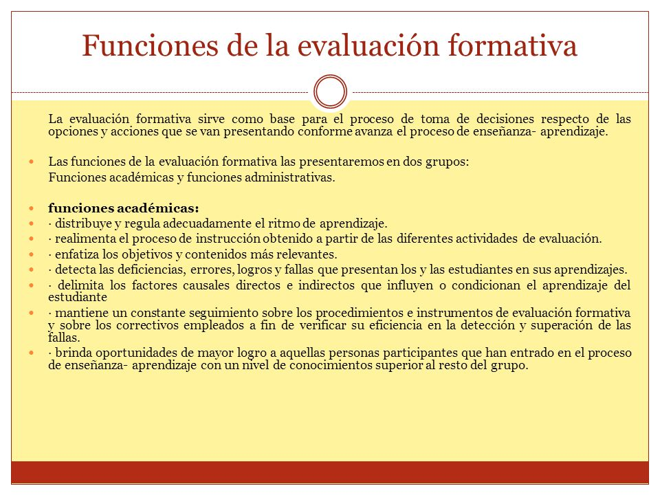 Funciones de la evaluación formativa