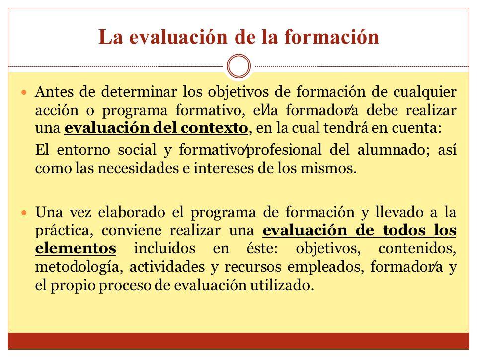 La evaluación de la formación