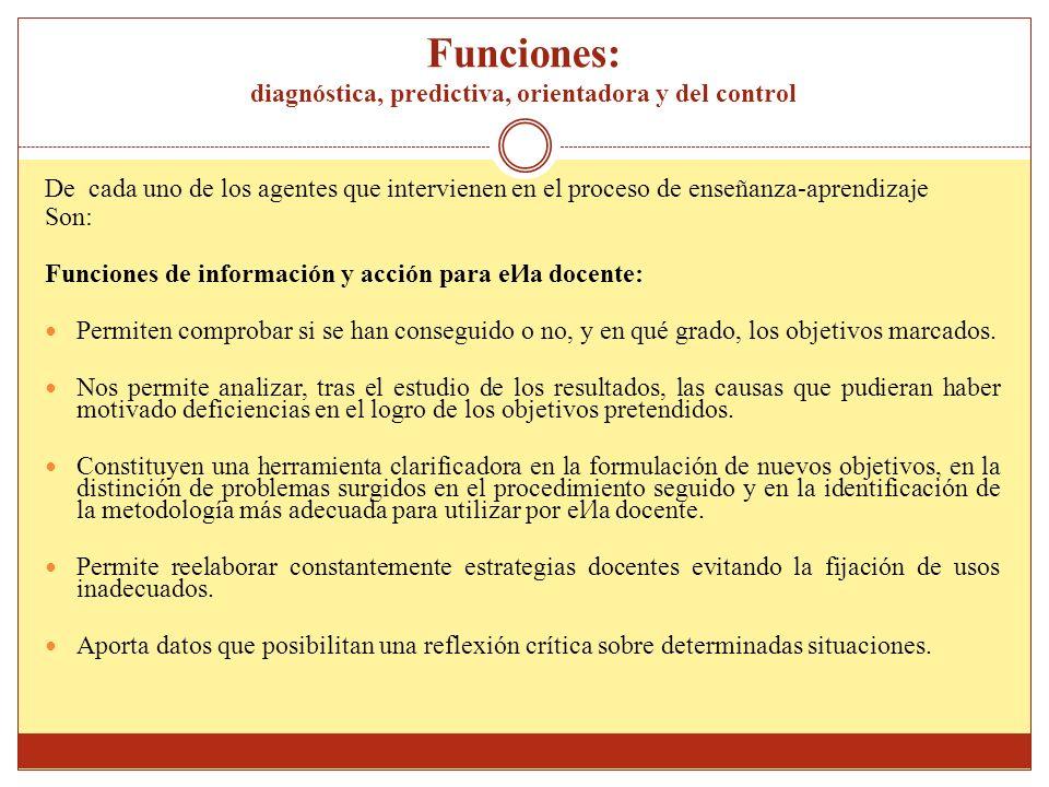 Funciones: diagnóstica, predictiva, orientadora y del control